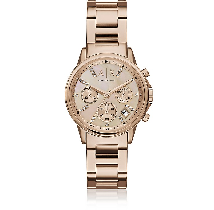 Lady Banks Rose Tone Chronograph Women's Watch - Armani Exchange