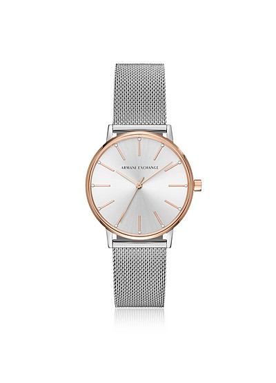 Lola Rose and Stainless Steel Mesh Women's Watch - Armani Exchange