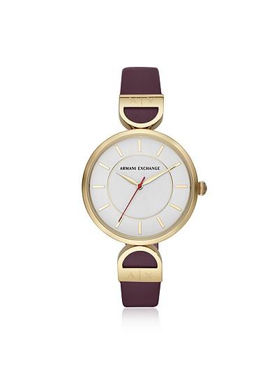 Brooke Gold Tone Aubergine Women's Watch - Armani Exchange