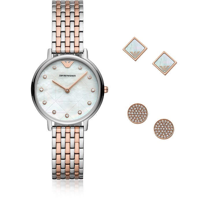 Two-Tone Kappa Watch and Earring Set - Emporio Armani