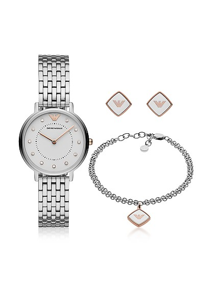 Kappa Stainless Steel Watch Set - Emporio Armani