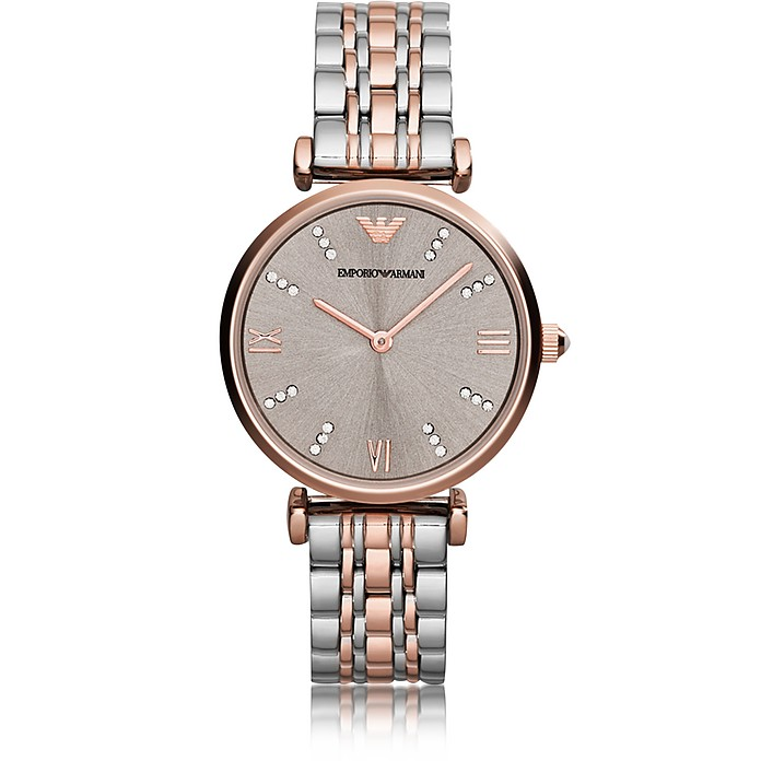 T-Bar Two Tone Stainless Steel Women's Watch w/Dark Gray Sunray Dial - Emporio Armani