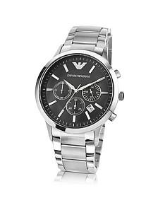 Men's Black Dial Stainless Steel Chrono Watch - Emporio Armani