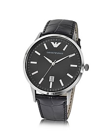 Men's Black Dial Stainless Steel Date Watch - Emporio Armani