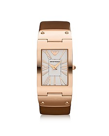 Stainless Steel with Leather Band Women's Watch