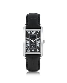 Stainless Steel Unisex Watch w/Leather Strap