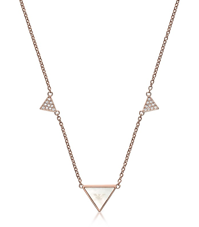 Signature Rose Goldtone Triangle Necklace - Emporio Armani