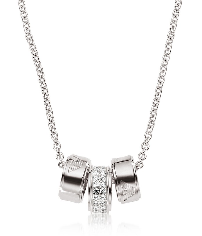 Signature Sterling Silver Rings Women's Necklace - Emporio Armani