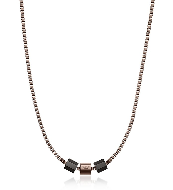 Men's Signature Rose Gold Plated Necklace - Emporio Armani