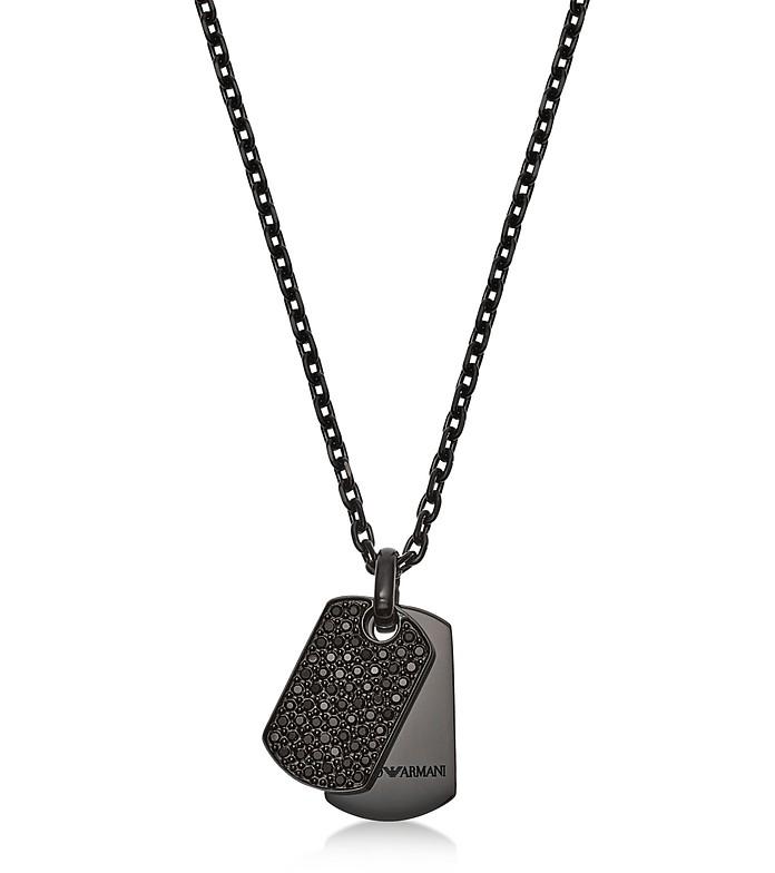 Men's Black Heritage Necklace - Emporio Armani