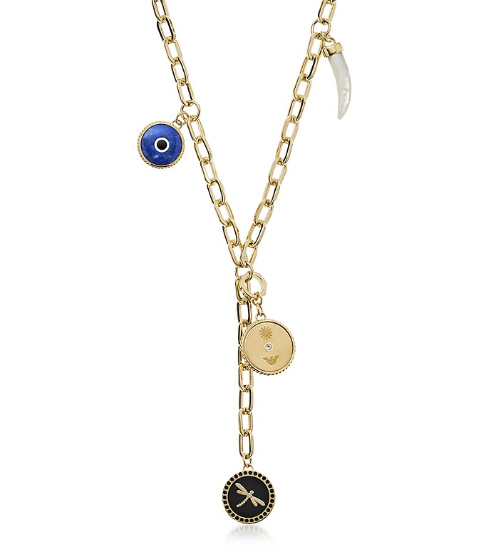 Women's Eye on the World Necklace w/Good Luck Charm - Emporio Armani