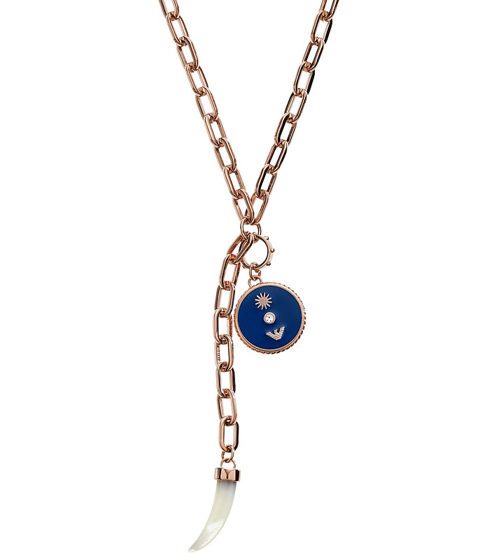 Women's Chain Necklace w/ Logo Charm and Lucky Horn - Emporio Armani