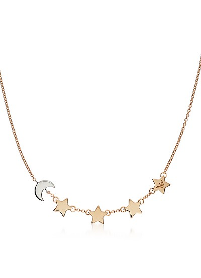 Sterling Silver Moon and Stars Necklace - Emporio Armani