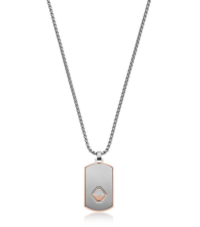 Stainless Steel Tag Necklace - Emporio Armani