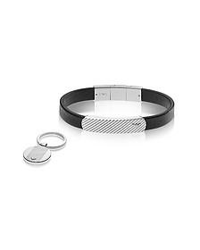 Heritage Black Leather Bracelet and Silvertone Key Ring Set - Emporio Armani