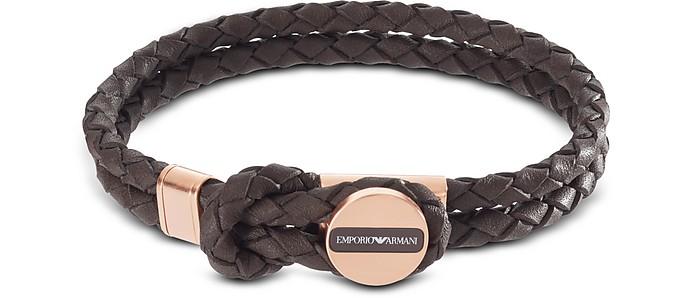 Brown Signature Medallion and Woven Leather Men's Bracelet - Emporio Armani