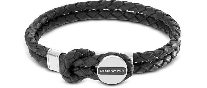 Signature Medallion and Leather Men's Bracelet - Emporio Armani