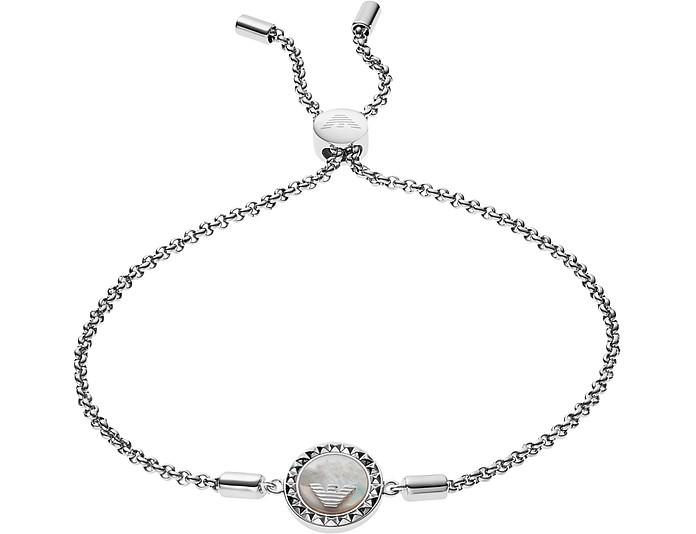 Sterling Silver W/Logo Charm Women's Bracelet - Emporio Armani