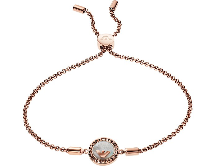 Rose Gold Plated Sterling Silver W/Logo Charm Women's Bracelet  - Emporio Armani