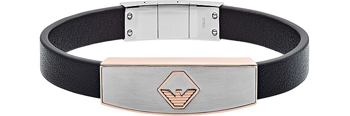 Leather Stainless Logo Bracelet - Emporio Armani