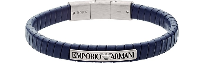 Blue Soft Leather Bracelet - Emporio Armani
