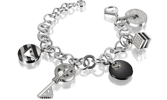 Onyx and Crystals Logo Charm Bracelet - Emporio Armani