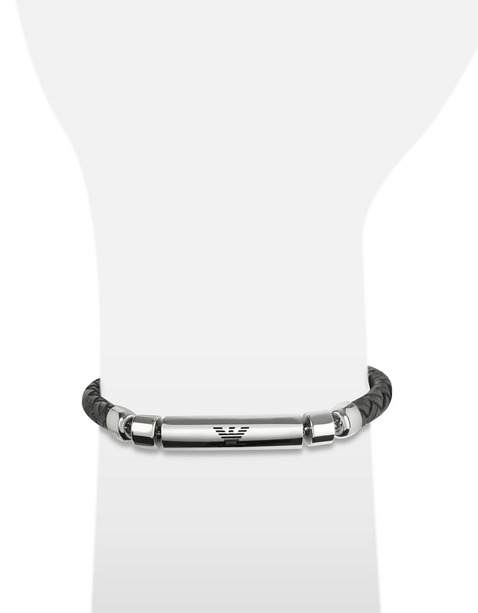 41ab80ca1f Emporio Armani Stainless Steel and Leather Men s Bracelet at FORZIERI