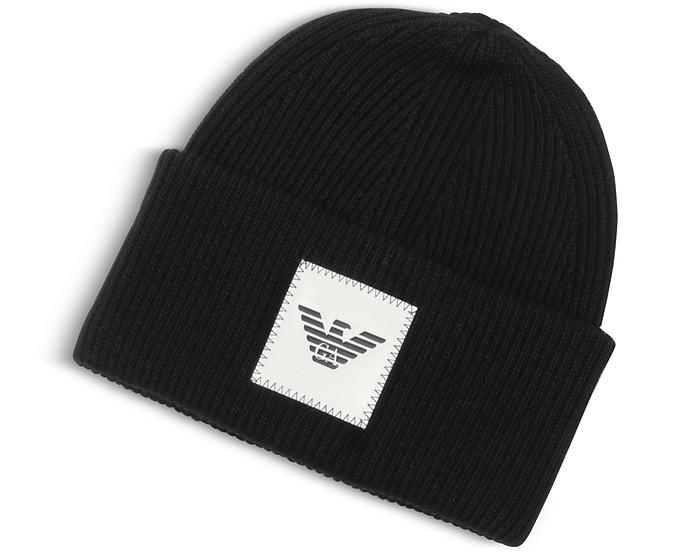 Black EA Beanie Hat  - Emporio Armani