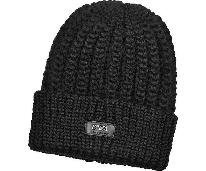 208aea929a3 Emporio Armani Black Cable Knit Beanie Cap w Logo Label at FORZIERI