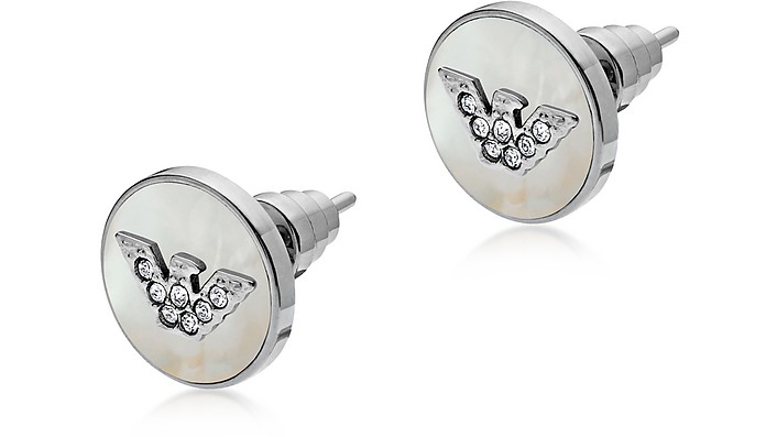Sterling Silver and Mother of Pearl Signature Women's Earrings - Emporio Armani