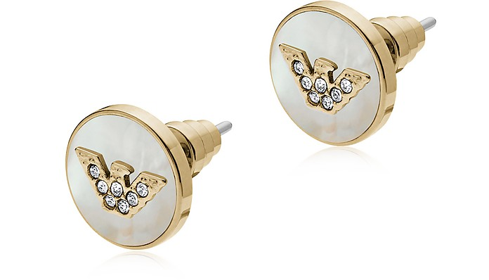 Golden Stainless Steel and Mother of Pearl Signature Women's Earrings - Emporio Armani