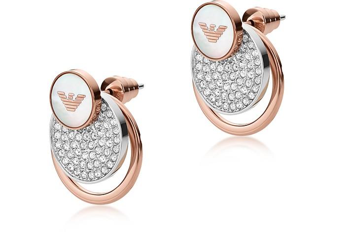 Round Two Tone Signature Women's Drop Earrings - Emporio Armani