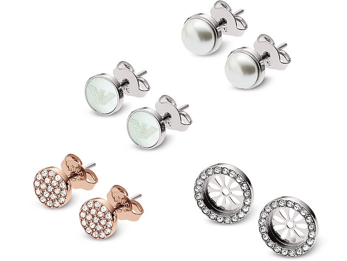 Set of Three Stainless Steel and Crystals Women's Earrings - Emporio Armani