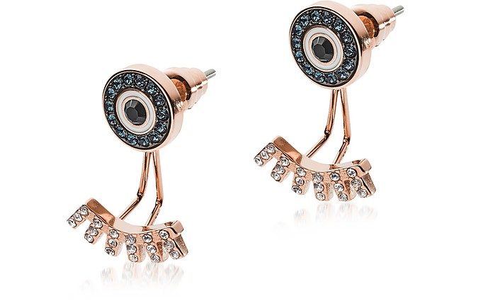 Rose Gold Stainless Steel and Crystals Fashion Women's Earrings - Emporio Armani
