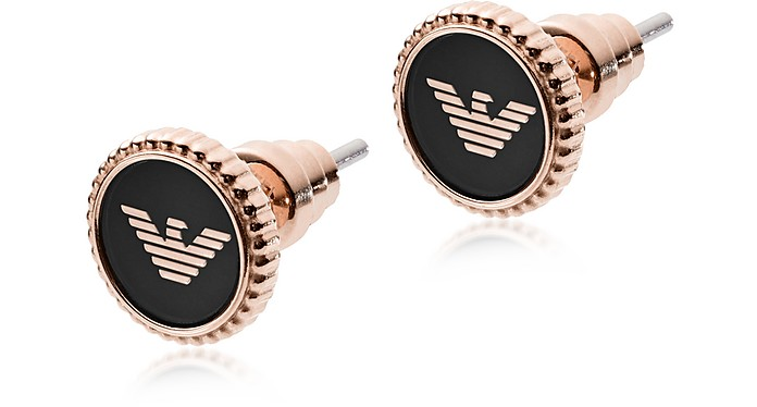 Rose Gold Stainless Steel and Black Enamel Signature Women's Earrings - Emporio Armani