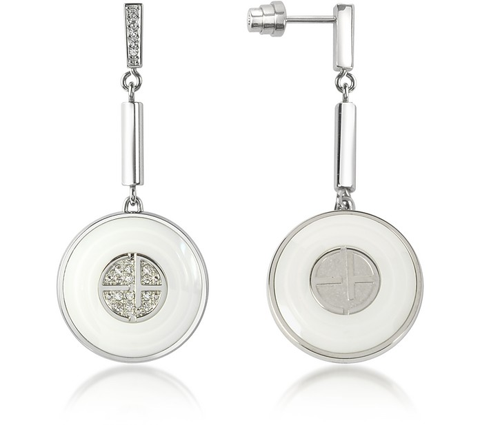 Ceramic and Stainless Steel Drop Earrings - Emporio Armani