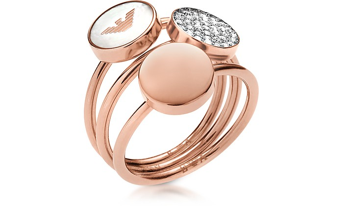 Signature Rose Goldtone Triple Ring - Emporio Armani