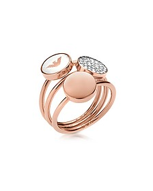 Signature Rose Goldtone Triple Ring - Emporio Armani