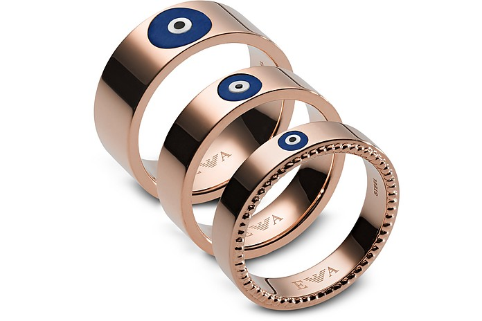 Rose Gold Stainless Steel Fashion Women's Triple Ring - Emporio Armani