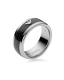 Iconic Carbon Fiber and Stainless Steel Men's Ring - Emporio Armani