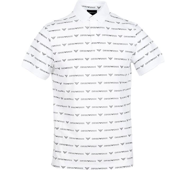 White Allover Signature Cotton Men's Polo Shirt - Emporio Armani