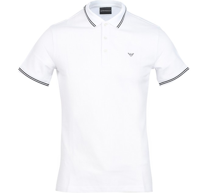 White Cotton Men's Polo Shirt - Emporio Armani