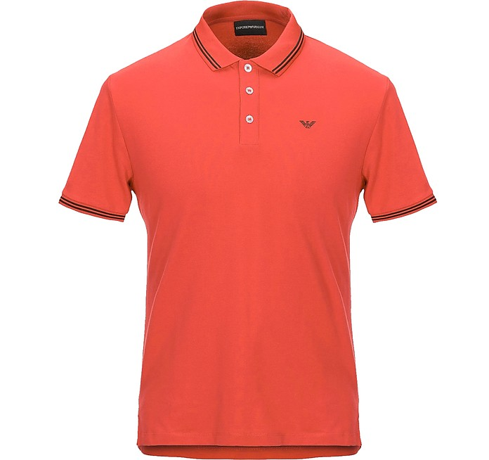 Red Cotton Men's Polo Shirt - Emporio Armani
