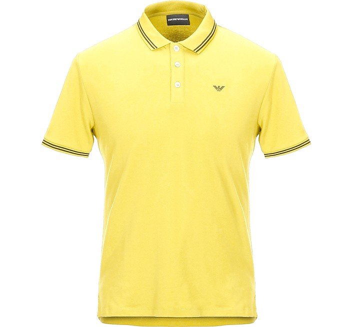 Yellow Cotton Men's Polo Shirt - Emporio Armani