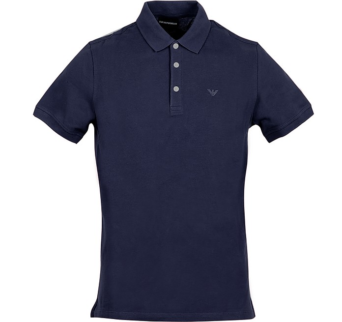 Dark Blue Cotton Men's Polo Shirt - Emporio Armani