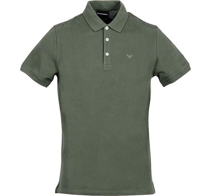 Olive Green Cotton Men's Polo Shirt - Emporio Armani