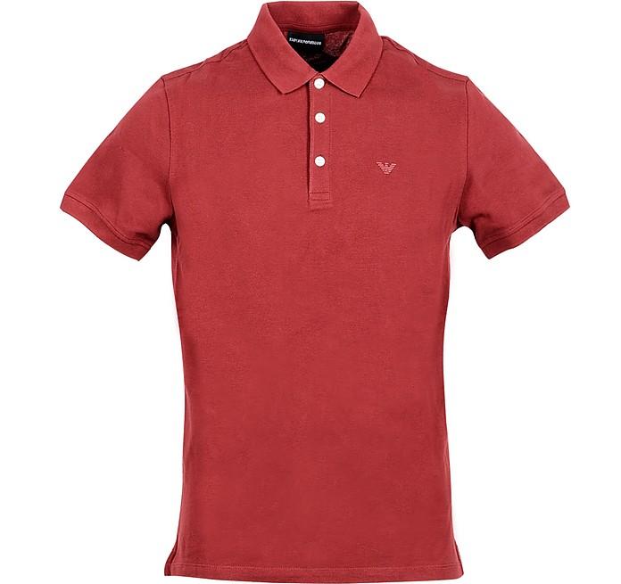 Burgundy Cotton Men's Polo Shirt - Emporio Armani
