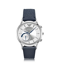 Connected Stainless Steel Hybrid Men's Smartwatch w/Blue Leather Strap - Emporio Armani