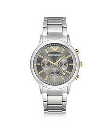Stainless Steel Men's Chronograph Watch w/Gray Dial - Emporio Armani