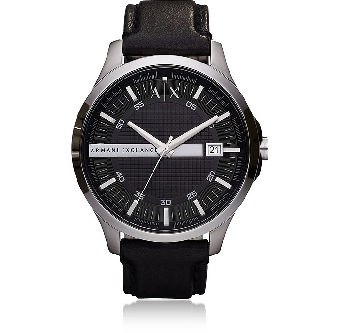 Hampton Black Leather Men's Watch - Armani Exchange